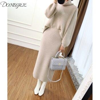 2019 automne hiver col haut pull en cachemire version coréenne du pull lâche femmes tricoté deux pièces costume sac hip jupe