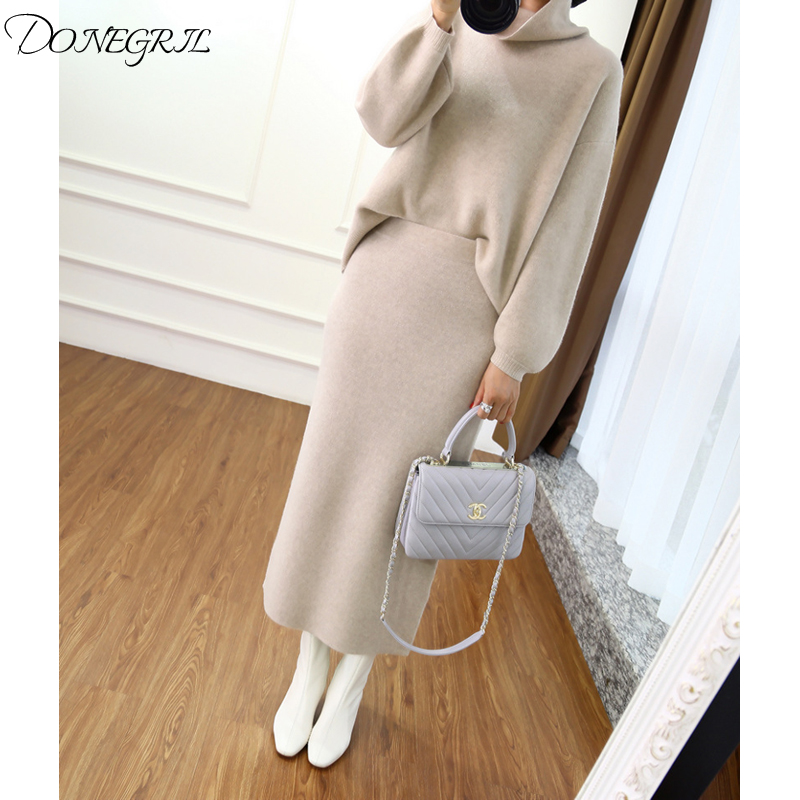 2019 autumn winter high collar cashmere sweater Korean version of the loose sweater women's knitted two piece suit bag hip skirt