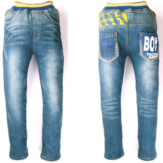 Teen Boys Winter Blue Jeans Thermal velvet child Denim Warm pants, kids fleece warm outerwear trousers MH0315
