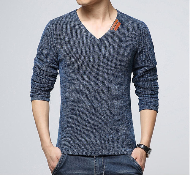 Hot Sales 2016 The Fall New Fashion Brand T Shirt Men LongSleeve T-Shirt with V-Neck Pure Color Men's  T-Shirt