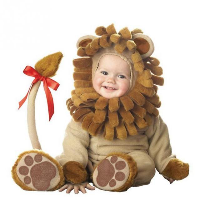 2018 roupa do bebê set Traje de halloween Roupas Macacão primavera & outono estilo animais romper do bebê gift set leão