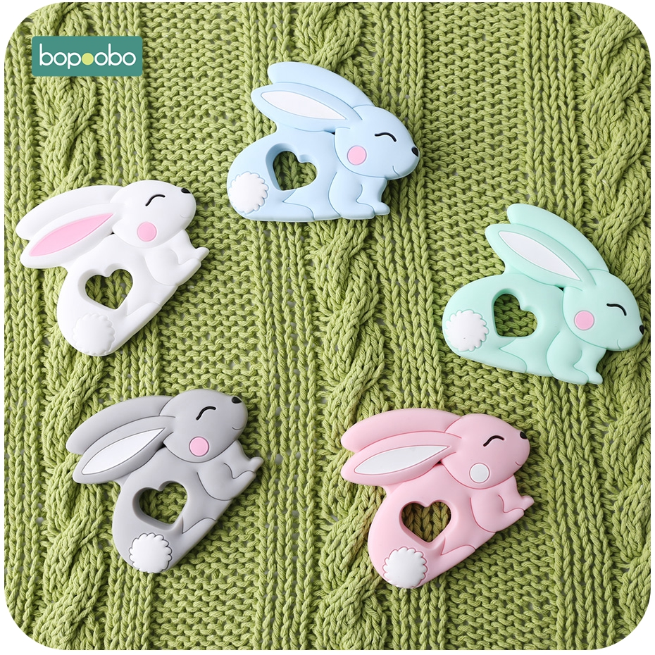 Bopoobo 10pc Silicone Rabbit Teether Food Grade Bunny Teether Nursing Teething Pacifier Clip Accessories Baby Teether Freeship