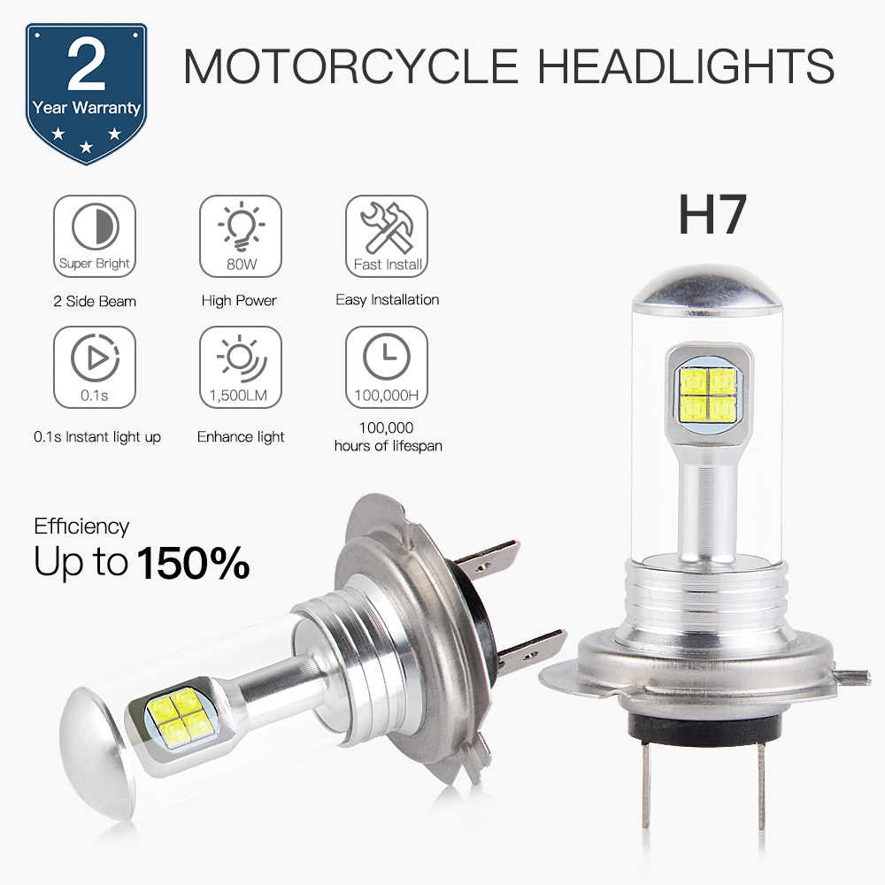 Motorcycle H7 Hi Beam LED Bulb Head Light For BMW R1200GS R1200R R1200RT R1200RS F800R R1300R S1000RR S1000XR K1300GT K1300S HP4