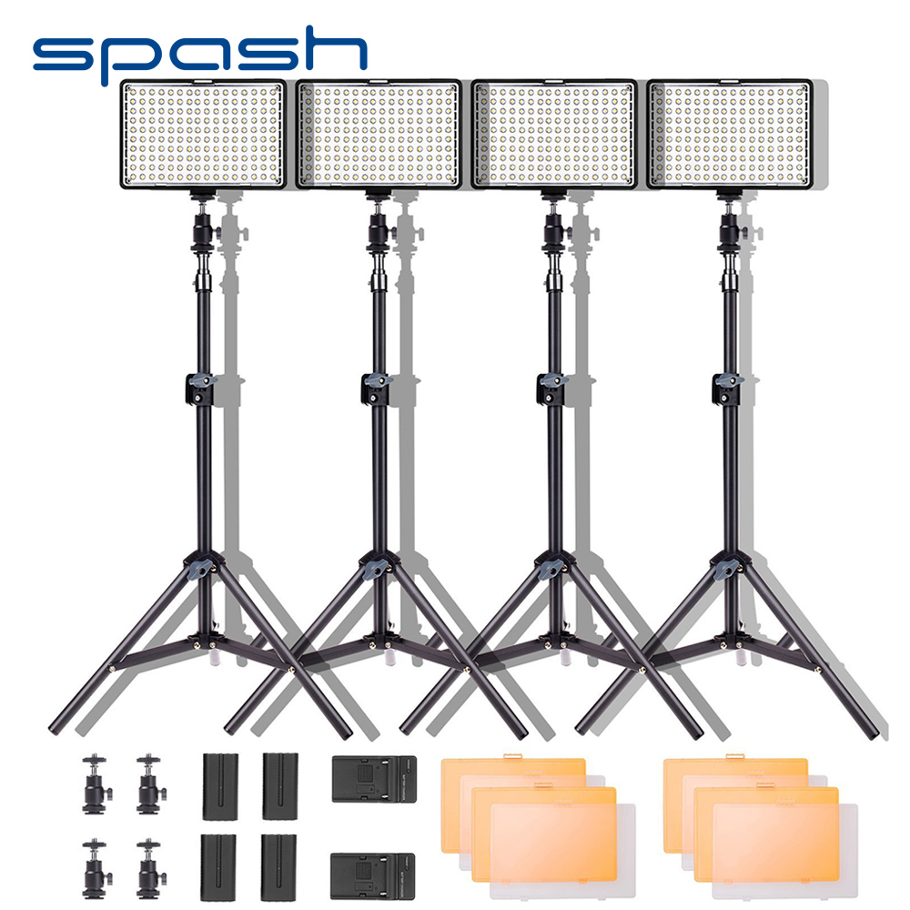 spash TL-160S LED Video Light Kit Photography Lighting with Stand NP-F550 Battery Dimmable 3200K-5600K 160 LED Studio Lamp