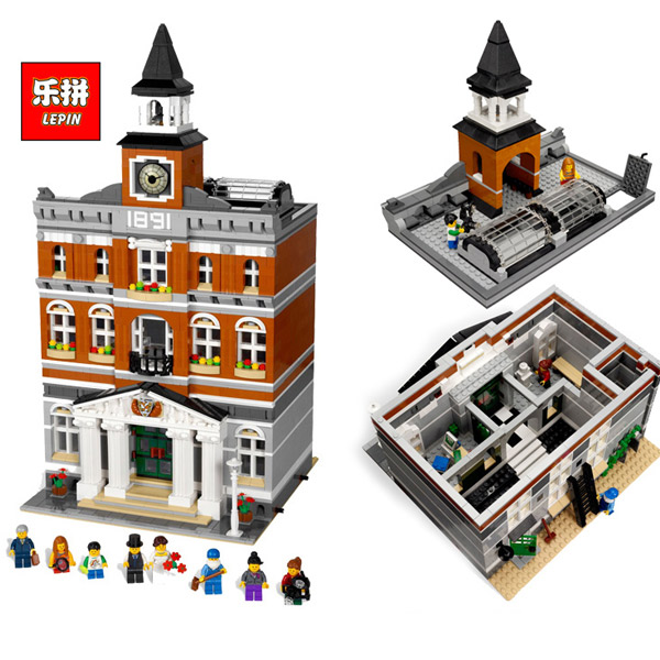 LEPIN 15003 City Streetscape The Town Hall Model Building Kits Block Kid 2859Pcs Bricks Children For Gift 10224 lepin 15003 2859pcs city creator town hall sets model building kits set blocks toys for children compatible with 10024