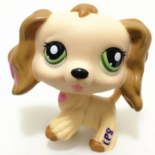 LPS Pet Shop Rare Pink Heart-Shaped Pattern Yellow Cocker Spaniel LPS Dog Collection Cosplay Mini Action Figure Children Gift(China)