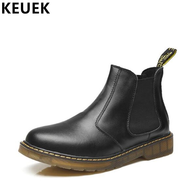 Large size Genuine leather boots British style Men Chelsea Boots Slip On Round Toe Ankle Outdoor