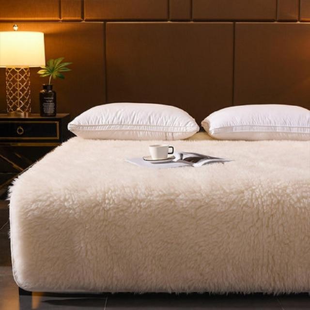 100% קשמיר מזרן עיבוי אלמוגי קטיפה טאטאמי רך סופר חם צמר כרית מעונות מלון חורף מיטת מחצלת