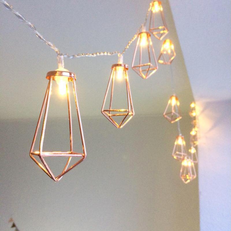 Retro Iron Metal Diamond LED Fairy String Lights Battery Xmas Holiday Wedding Party Home Decoration 10Leds Lantern String Lamps (6)