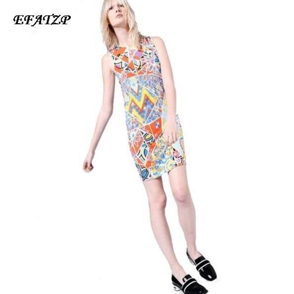 2016 frühling sommer Neue Ankunft Elastische Kleid Damen Eleganter Geometric Print Plus größe XXL ärmellos Stretch Tag Kleid-in Kleider aus Damenbekleidung bei  Gruppe 1