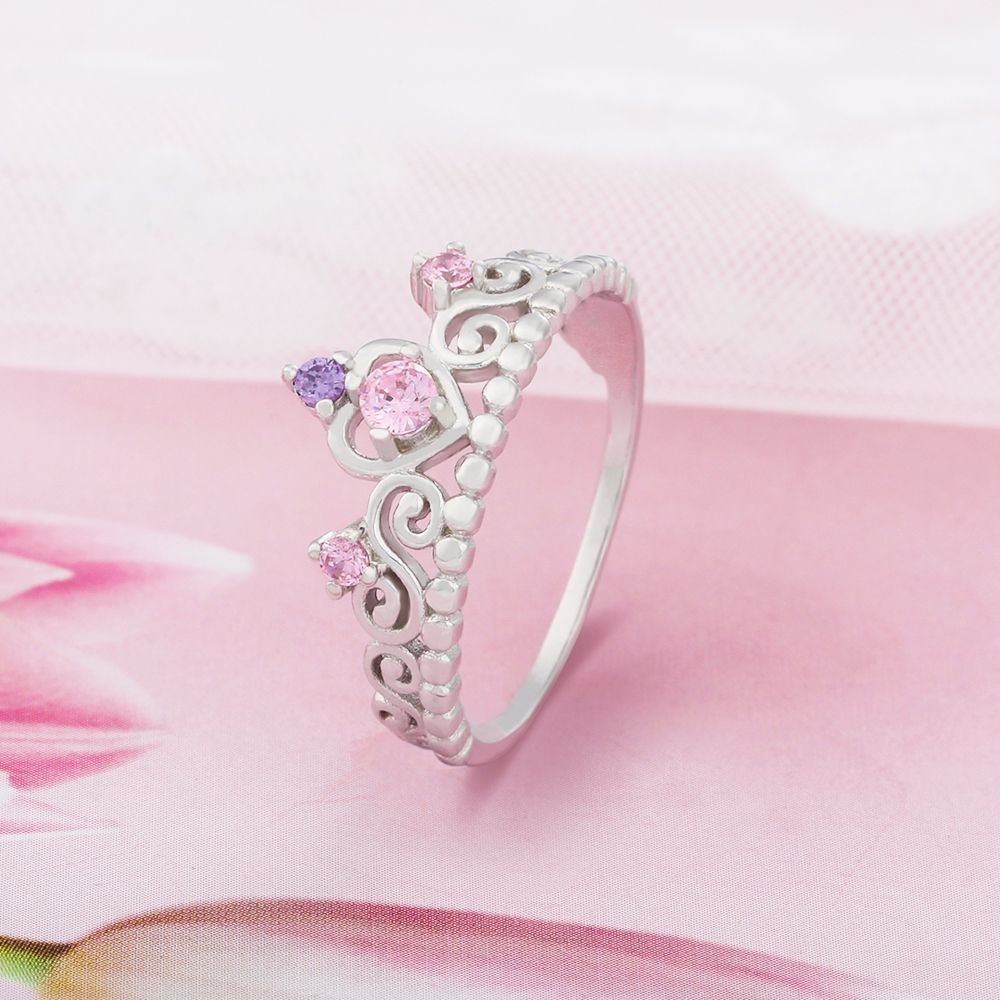 MiLaTu Genuine 925 Sterling Silver Crown Ring For Women Pink ...