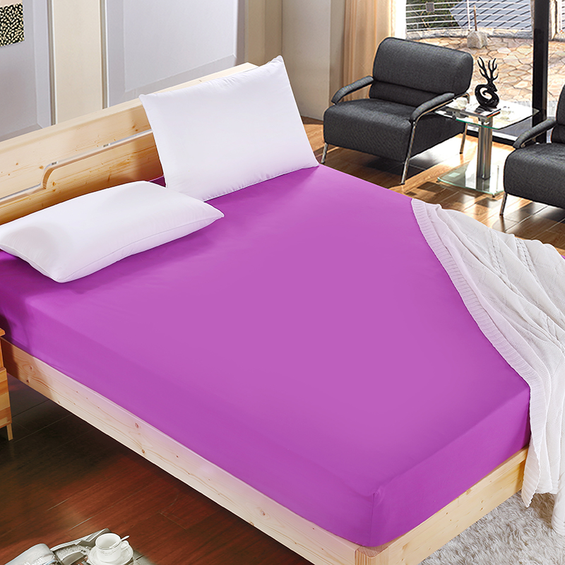 1 stk 100% Polyester Solid Fitted Sheet Madrass Cover Fire Corners Med Elastic Band Bed Sheet