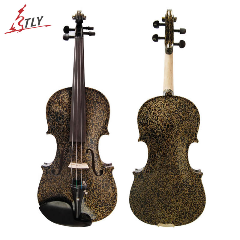 Kinglos Acoustic Art Violin Ebony Fittings Golden Flowers Painted Hand Made Maple Black Violin 4/4 w/ Case Bow Rosin (HB-1303) kinglos antique acoustic violin 4 4 beethoven carved maple art violin ebony fittings with shoulder rest case bow rosin bridge