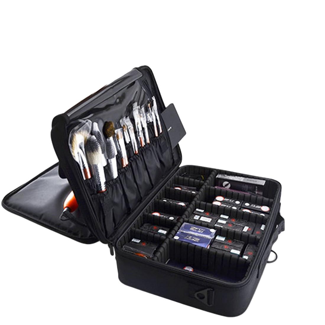 ARESLAND Portable Makeup Bag Cosmetic Cases Case For Women Cosmetics Box Lagre Makeup Make Up Bag Black