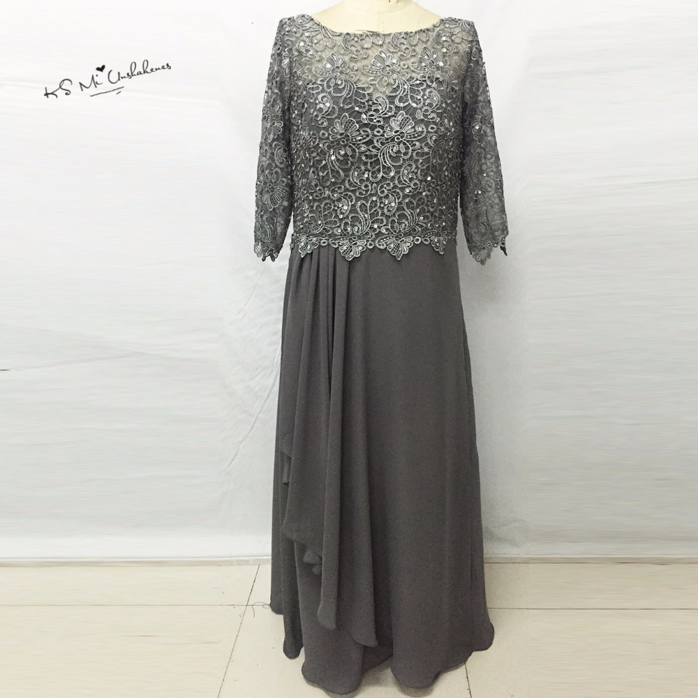 US $96.72 22% OFF|Dark Grey Long Sleeve Mother of the Bride Lace Dresses  Plus Size Sequined Formal Women Evening Gowns Chiffon Pant Suits  Weddings-in ...