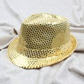 Child Kids Boy Girl Adult Cap Sequin Hat Jazz Cap Top Topper Popular Trilby Flat