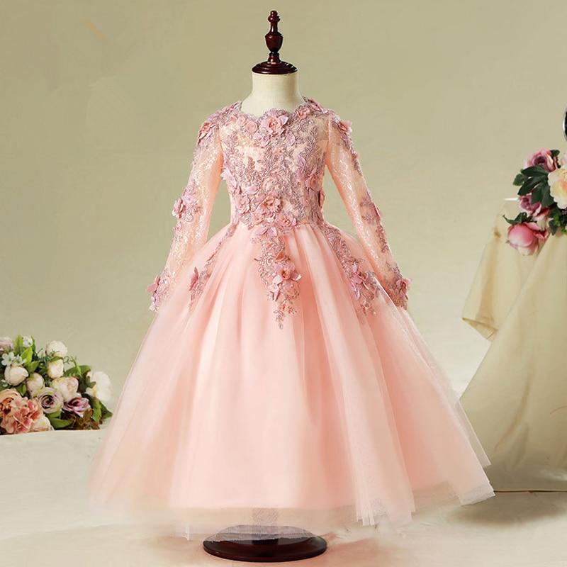 Children Elegant   Flower     Girl     Dress   For Wedding Long Sleeve Appliques Kids Party Prom   Dress   First Communion   Dresses   Princess E66