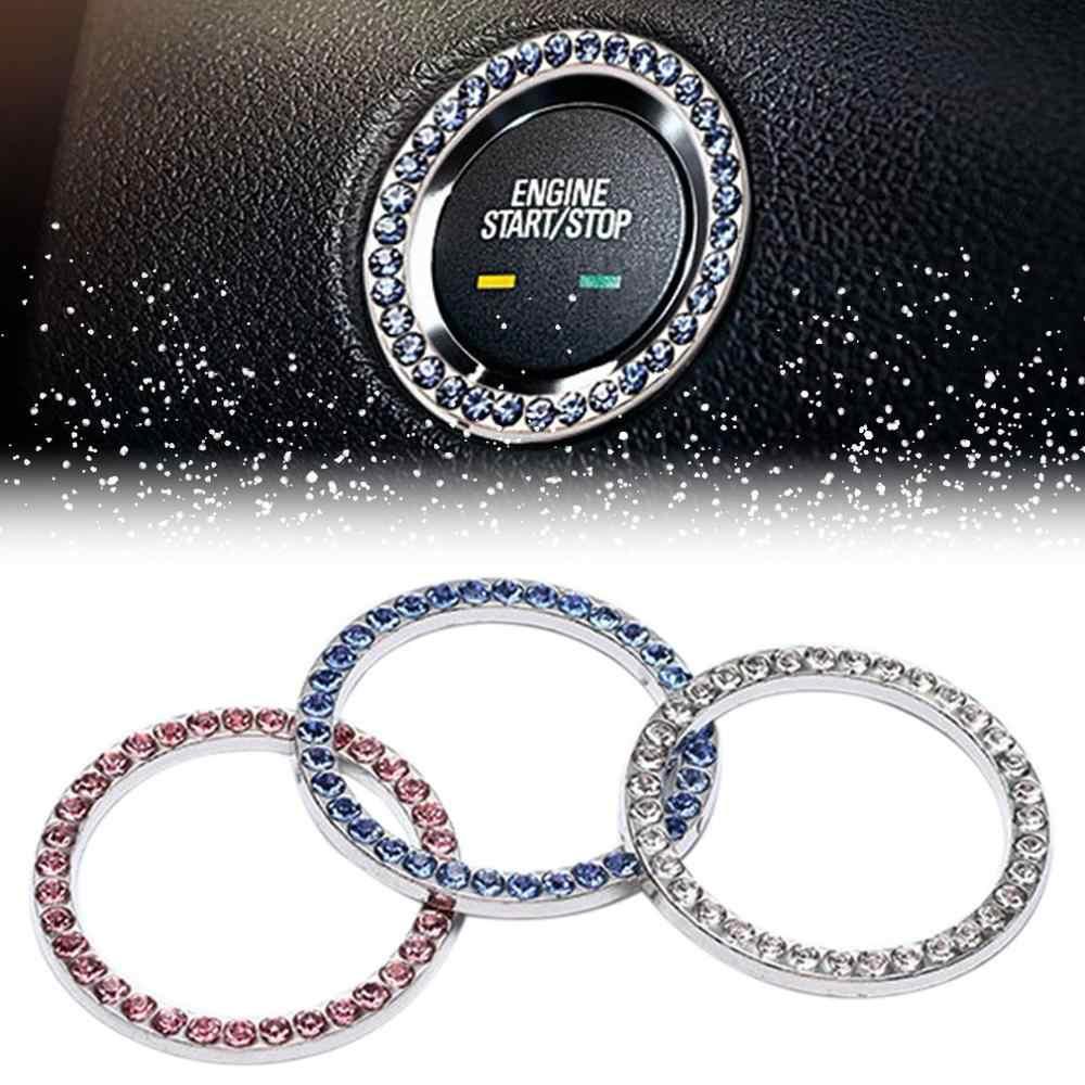 Voiture un bouton démarrage anneau décoratif diamant voiture démarrage anneau décoration voiture porte-clés bouche bijoux