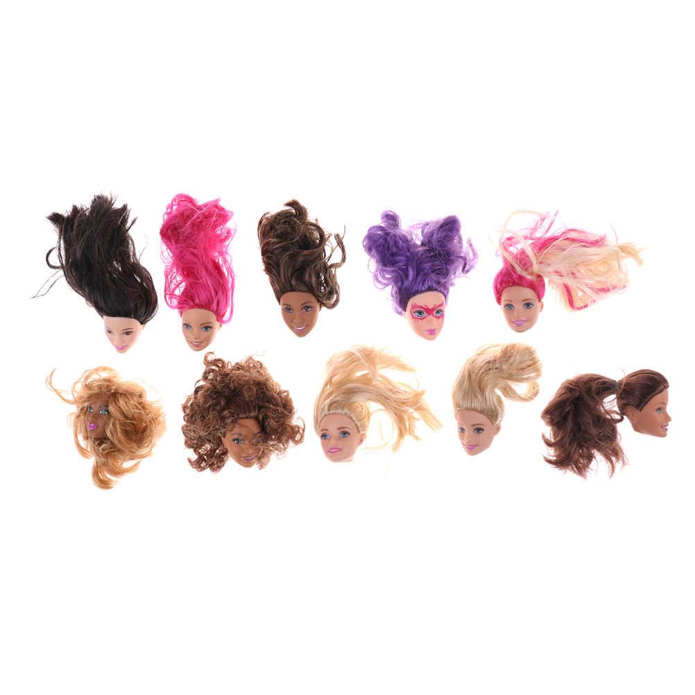 Шт. 1 шт. новый микс различных стиль 1/6 кукла голова блонд коричневый аксессуары для волос своими руками для куклы Коллекция подарок на день рождения
