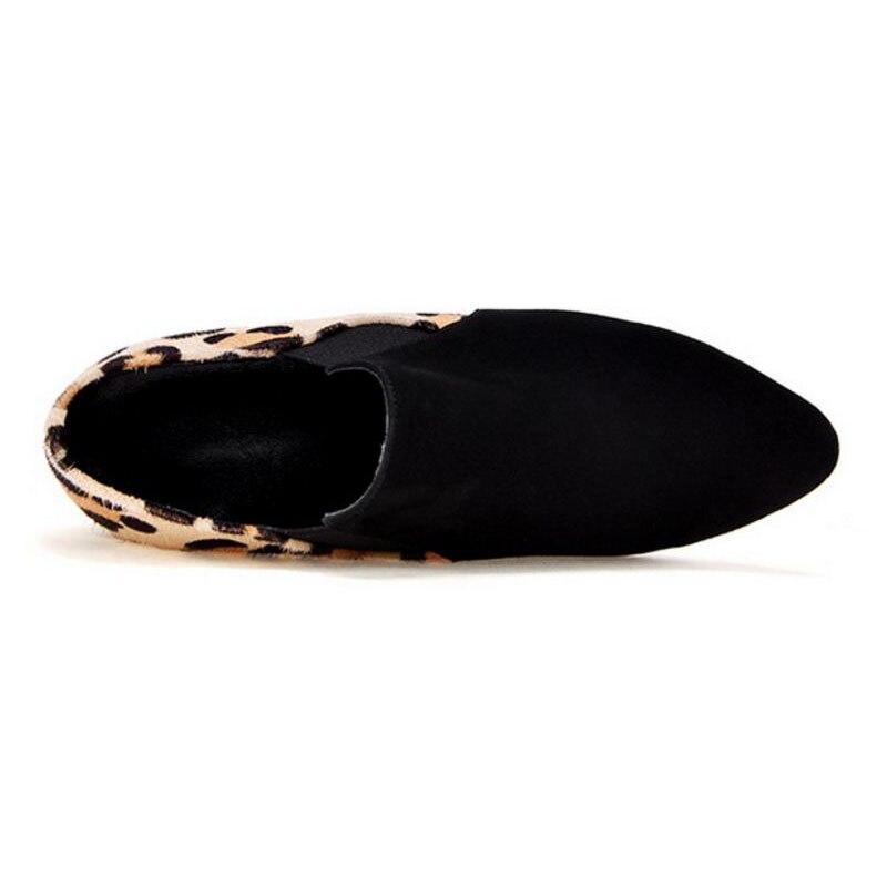 Parti Taille Pompes 33 Bout Rond Sexy Léopard Talon En À Femmes Talons Véritable Noir 42 Épais Hauts Cuir Chaussures Coolcept xSwaIZqw