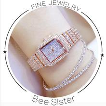 2017 New Women Watch Rhinestone Klockor Lady Diamond Stone Dress Klocka Rostfritt Armband Armbandsur Klockor Crystal Watch