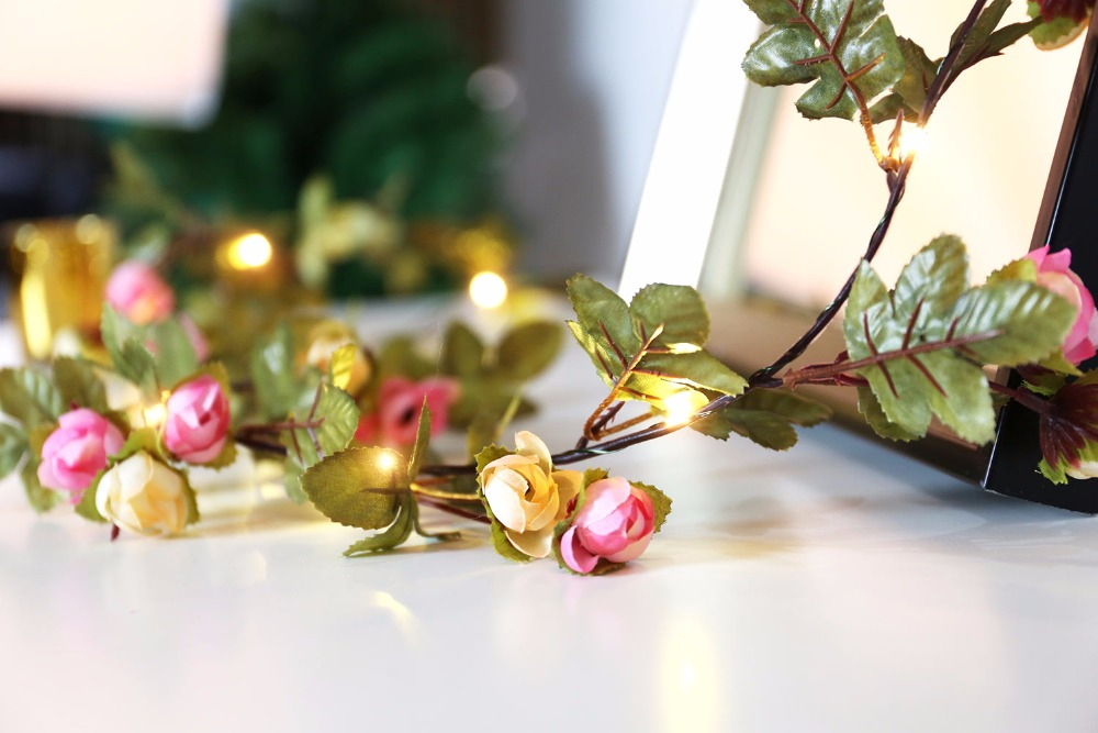 2M 20LED pink rose flower decorative garland battery Copper LED fairy string lights for christmas wedding decoration party event in LED String from Lights Lighting