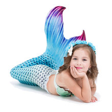5pcs/set Children Mermaid Tails Swimming Mermaid Tail With Monofin Zeemeerminstaart Mermaid Tail Flippers Kids Mermaid Swimsuit(China)