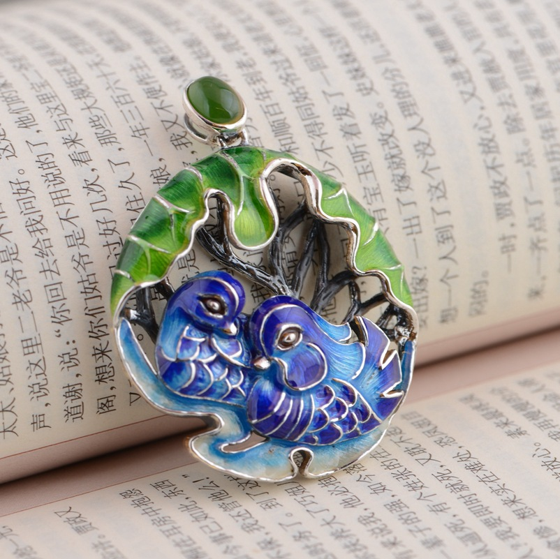 Deer King jewelry wholesale S925 Sterling Silver Pendant Shaolan exquisite unique Yuanyang gift