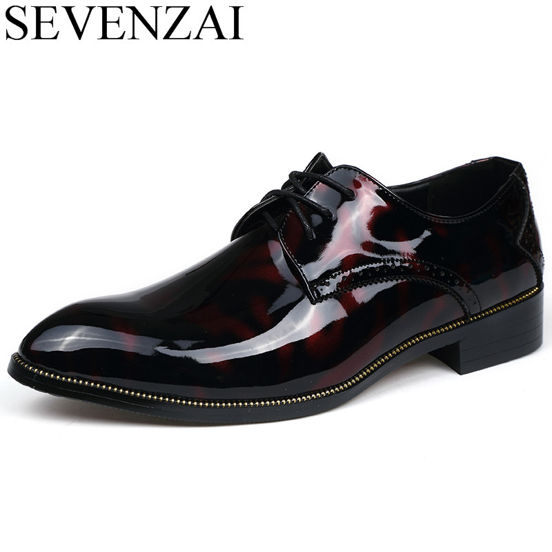 men pointed toe glossy patent leather print floral shoes luxury brand 2017 new causal male leisure footwear oxford shoes for men