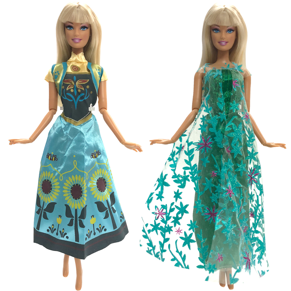 NK Two Set Princess Doll Anna  + Elsa Outfit Movie Similar Dress Fairy Tale Wedding Dress For Barbie Doll Best Girls' Gift DZ