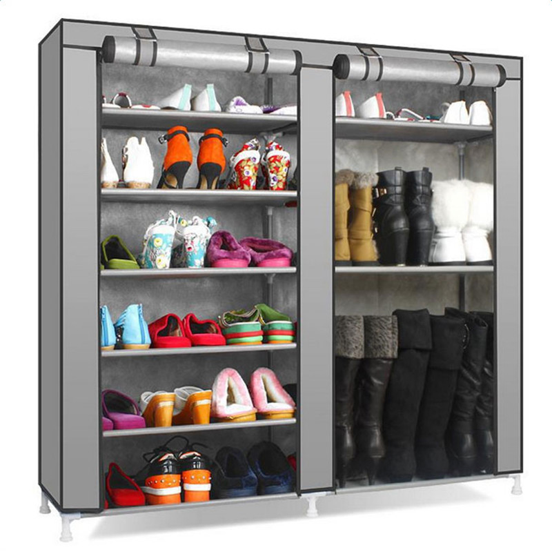 Multi Layer Shoe Rack Double Rows 9 Lattices Combination Style Shoe Cabinet Shelf Storage Organizer Holder Space Saving