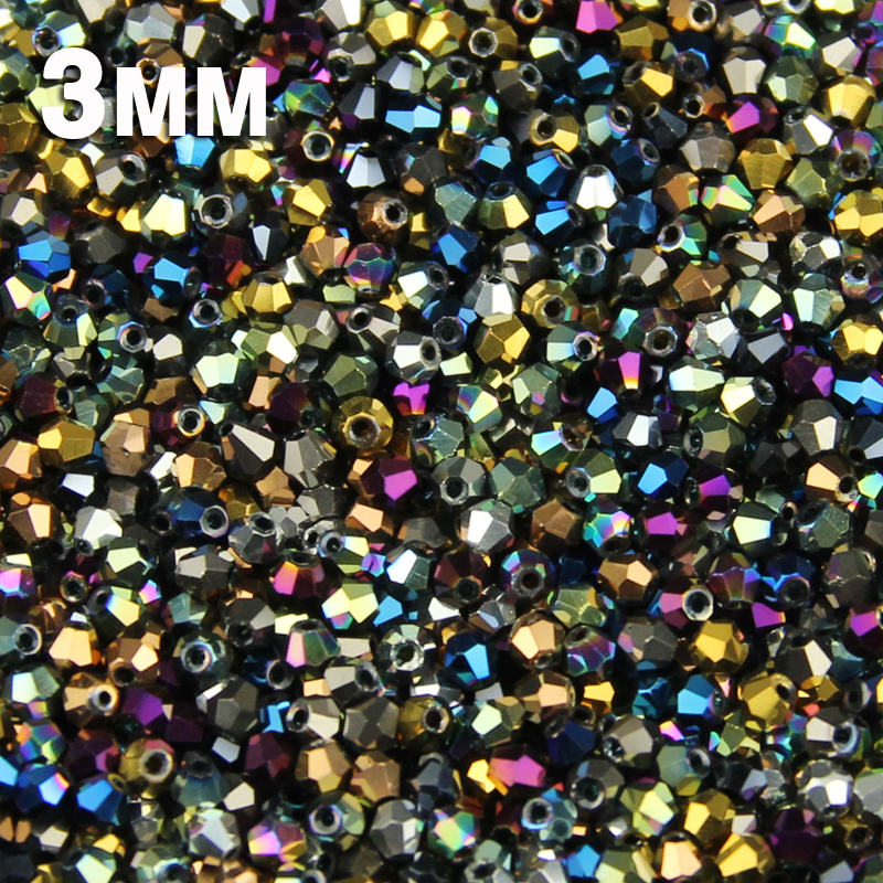 JHNBY 3mm 200pcs AAA Bicone Austrian crystals loose beads ball supply surface color plating bracelet necklace Jewelry Making DIY()