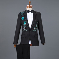 Chinese Style Men Business Casual Slim Suit Sets Fashion Sequin Tuxedo Singer Host Concert Stage Outfits Wedding Party Dresses