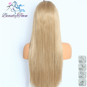 Image 3 - BeautyTown Ombre Brown Straight Heat Resistant Hair Women Wedding Party Halloween Present Synthetic Lace Front Daily Makeup Wigs