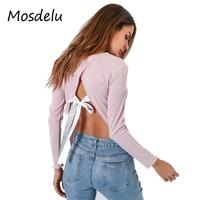 Mosdelu Women Crop Top Long Sleeve Cute Backless Top Women Tshirt Cotton Casual Autumn T Shirt