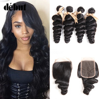 Debut Brazilian Hair Weave Bundles With Closure Loose Wave 28 Inch 2/3 Bundles With Lace Closure Non Remy Human Hair Extension
