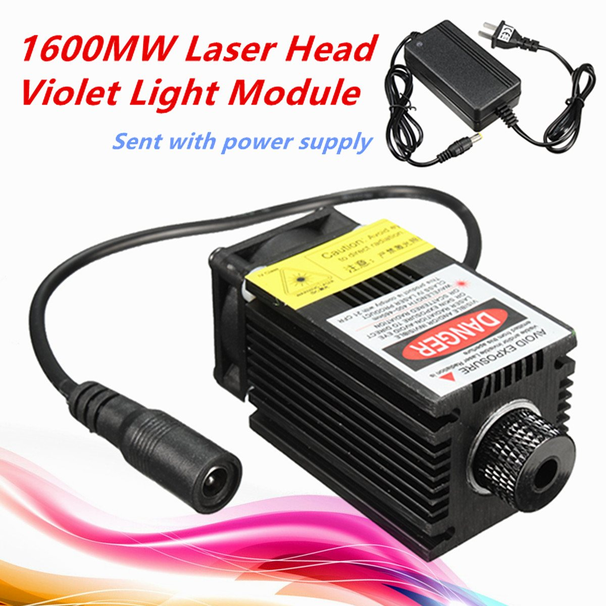 1Pcs New 12V 1.6W 1600MW Laser Module Engraving Head For DIY USB CNC Cutting Printing Machine + Power Supply eighty percent new laser head kss 151a