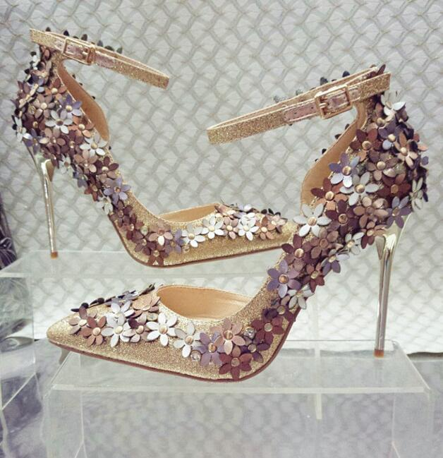 Spring newest flower embellished pointed toe high heel shoes bling bling glitter ankle strap woman pumps gold wedding heels gold sliver shoes woman for 2016 new spring glitter bling pointed toe flats women shoes for summer size plus 35 40 xwd1841