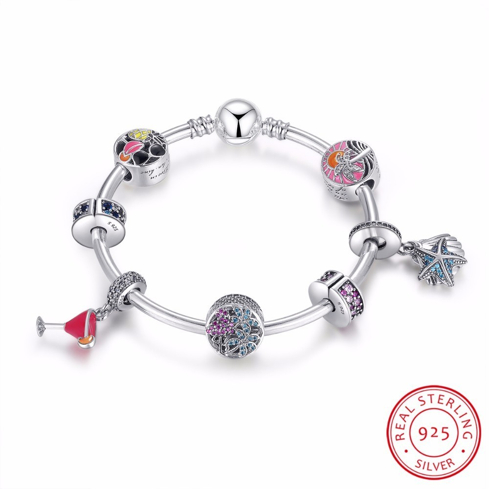 цена на 925 Sterling Silver Tropical Sunset, Summer Fun Flamingo & Mixed Enamel Charm Bracelet Sterling Silver Jewelry PSB010