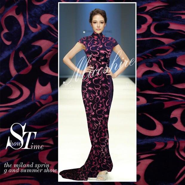 Crazy Discount Blue Claret S Flowers Flocking Fabric Silk Velvet Fabric For Party Dress/Cheongsam 100% Silk Fabric 19mm