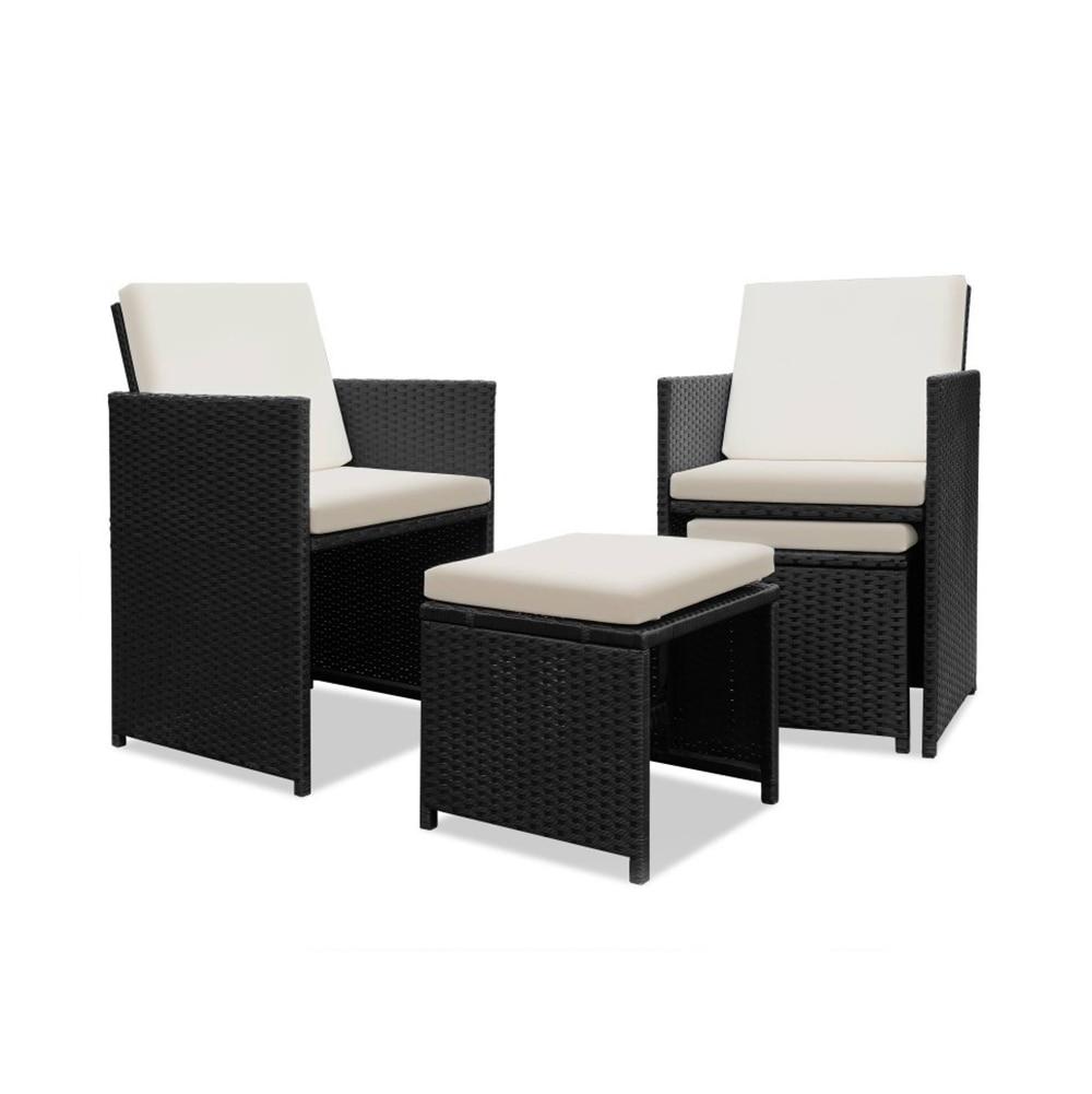 Jardín sofá de ratán conjunto con mesa de comedor 4 sillas 4 ...