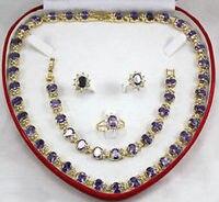 De haute qualité en gros choker ensembles de bijoux pour femmes anime plaqué cristal mot violet pierre collier bracelet boucle d'oreille anneau