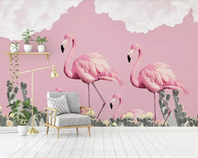 Beibehang 3d wallpaper Nordic high quality small fresh flamingo cactus romantic mural Child room background wall