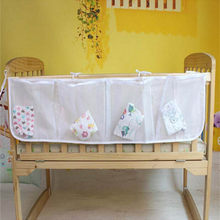 Baby Cot Bed Hanging Storage Bag Net Crib Organizer Toy Diaper Mesh Pocket for Crib Bedding Set Bed Bumper LA873044(China)