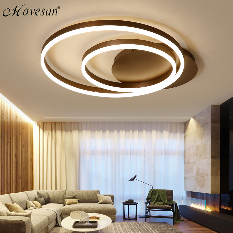 Modern remote control led ceiling lights for living room lamparas de techo dimming led ceiling lamp coffee color double circle швабра homequeen с отжимом цвет розовый