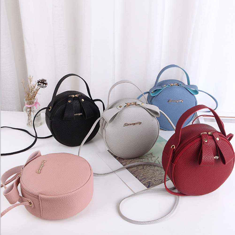 Design Fashion Women Round Bag Leather Women's Circular Crossbody Shoulder Messenger Bags Ladies Purse Female Bolsa Handbag