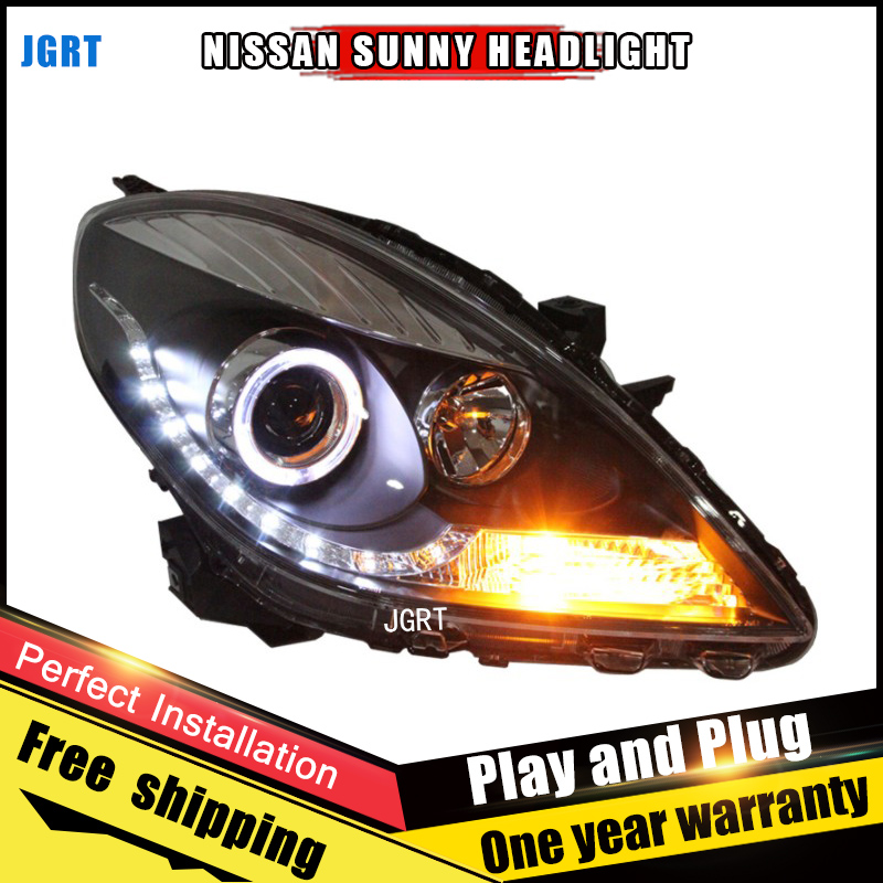Car Style LED headlights for Nissan Sunny 2011-2013 for Sunny head lamp LED DRL Lens Double Beam H7 HID Xenon bi xenon lens hireno headlamp for 2013 2015 nissan tiida headlight assembly led drl angel lens double beam hid xenon 2pcs