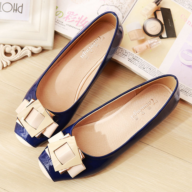 Womens Flats Shoes Square Toe Ladies Shoes Metal Square Buckle Slip on Flats For font b