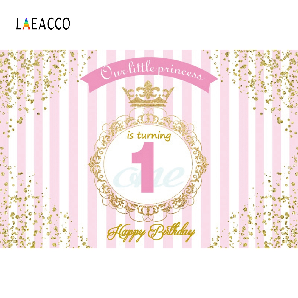 Laeacco Happy 1st Birthday Our Little Princess Golden