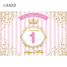 Laeacco Happy 1st Birthday Our little Princess Golden Border Scene Photography Background Photographic Backdrop For Photo Studio